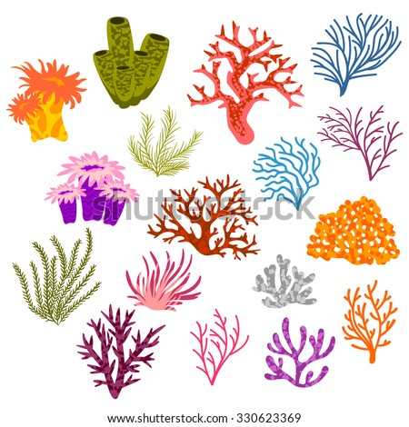 Vector Set Multicolored Corals Stock Vector (Royalty Free ... Водоросли Png