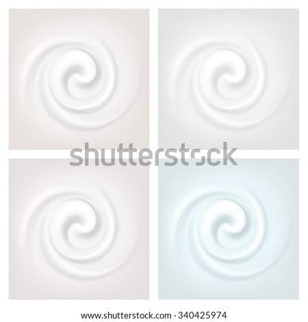 Vector Set of Multicolored Swirl Cream Texture Backgrounds - stock vector