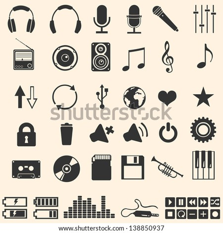 vector set of 46 music icons