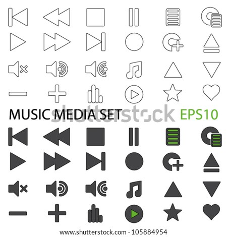 Vector Set of Music Media Icons in EPS10 Format (Both Standard and Outline)