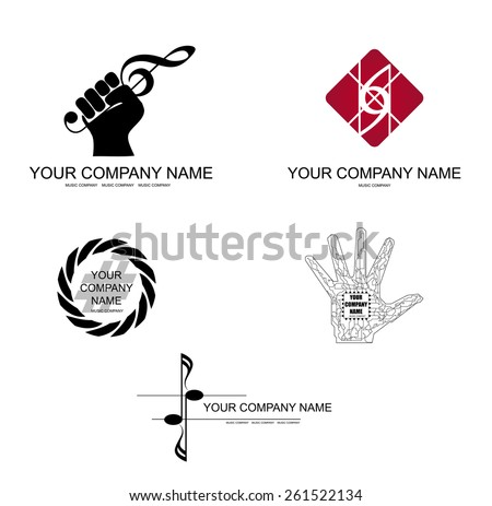 Vector set of musical direction signs on a white background. - stock vector