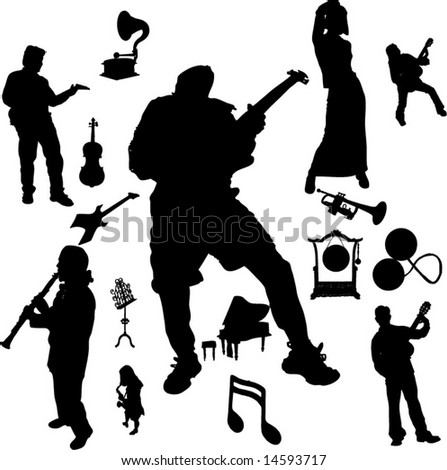 Vector set of Musical instruments and Players-7