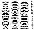 Vector set of mustache. - stock vector