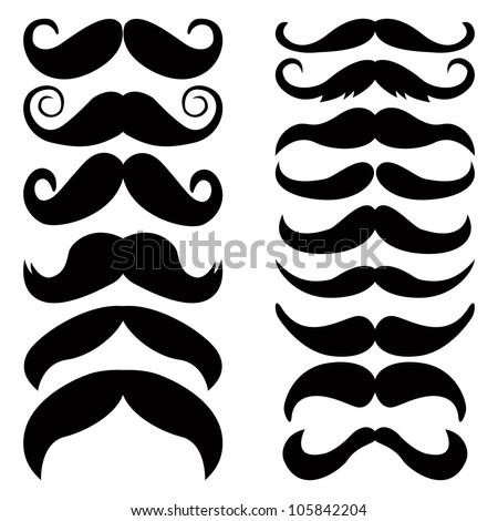 Vector set of mustache. - stock vector