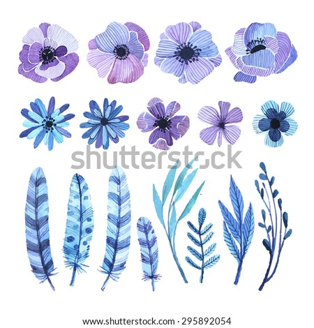 Vector set of natural elements in watercolor style. Delicate, feminine colors lilac hues, feathers and twigs in blue. Watercolor elements as templates for creating greeting cards, backgrounds - stock vector