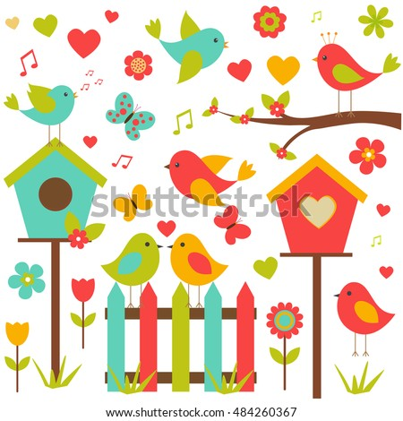 Vector set of nature-themed. Lovers of birds sitting on the trees among the flowers, butterflies and hearts.