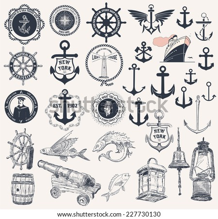 Vector. Set of nautical elements - stock vector