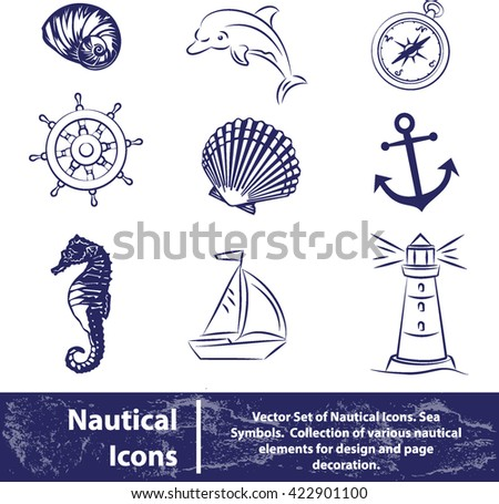 Vector set of nautical icons. Sea symbols on white background - stock vector
