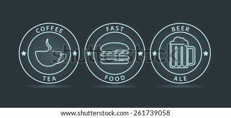 Vector set of neon outline style fast food icons  - stock vector