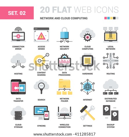 Vector set of network and cloud computing flat web icons. Each icon neatly designed on pixel perfect 64X64 size grid. Fully editable and easy to use.