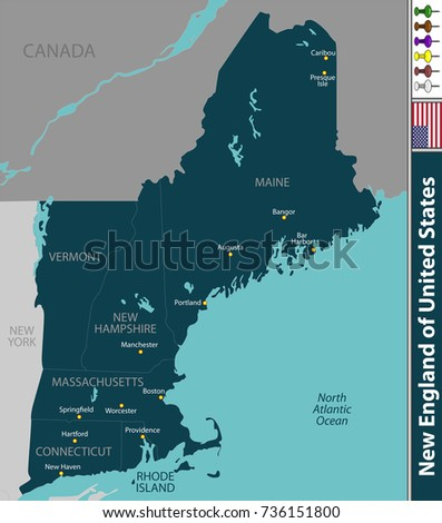 Vector Set New England United States Stock Vector 293393237