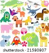 vector set of new geo animals 24 - stock vector