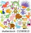 vector set of new geo animals 26 - stock vector