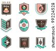 Vector set of nine colored food emblems - stock vector
