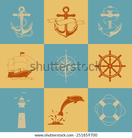 Vector set of nine decorative nautical signs and icons - stock vector