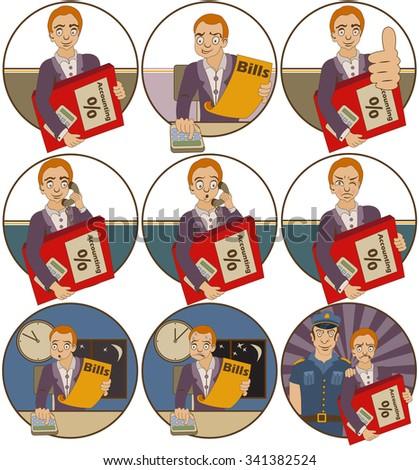 Vector set of nine different accountant cartoon illustrations. - stock vector