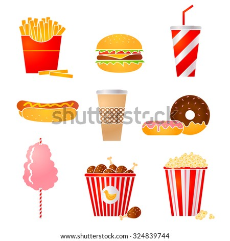 Vector set of nine fast food icons - stock vector