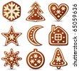 vector set of nine gingerbread cookies - stock vector