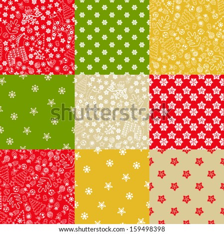Vector set of nine seamless Christmas patterns on the red, yellow, green background. Use for a Christmas design. - stock vector