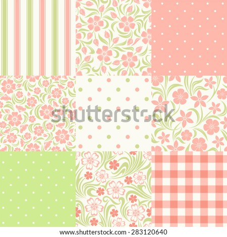 Vector set of nine seamless floral and geometric patterns in pink, green and white colors. - stock vector