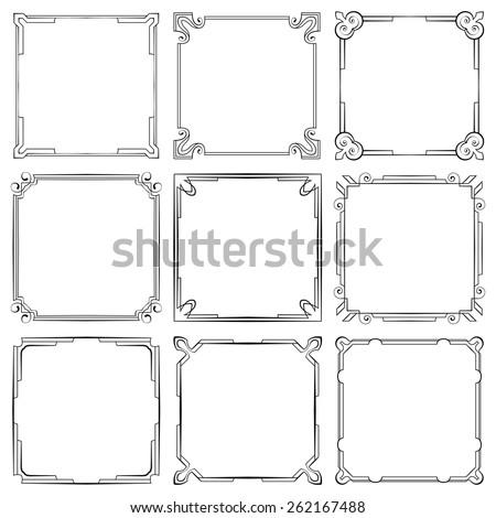 Vector set of nine square elegant frames - stock vector
