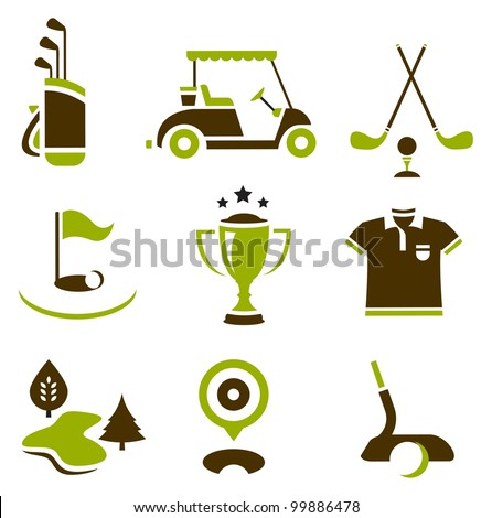 Vector set of nine stylized golf icons - stock vector