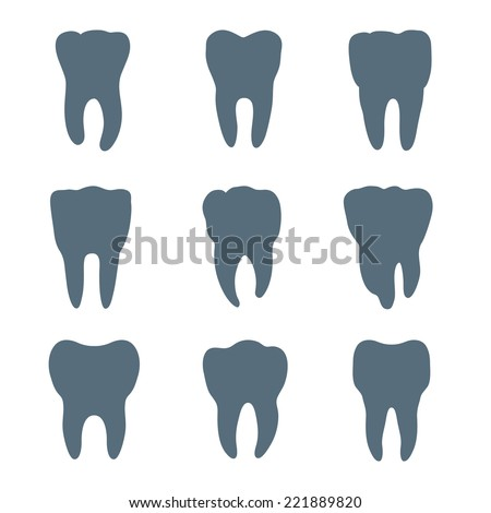 Vector set of nine teeth silhouettes, each tooth has different shape and size - stock vector