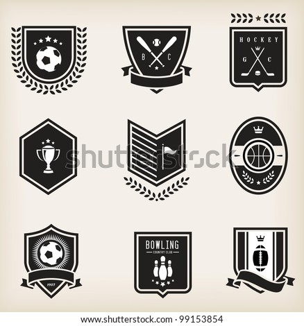 Vector set of nine various sport emblems - stock vector