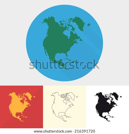 Vector set of north america icons. Map of North America. - stock vector