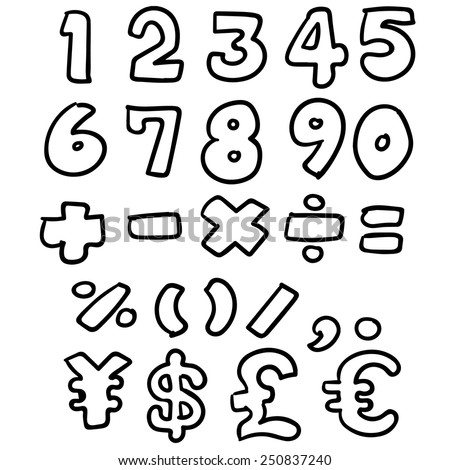 vector set of number - stock vector