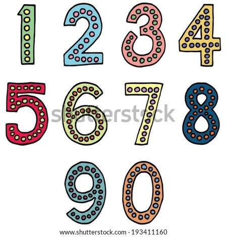 vector set of numbers - stock vector