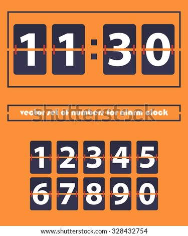 Vector set of numbers. Retro style. Retro colors. Flap type clock. Numbers set