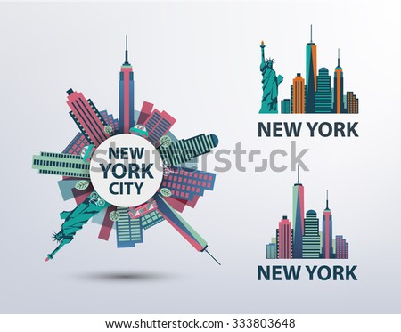 Vector set of NYC, New York City icons, logos, illustrations, banners. Skyline, Statue of Liberty - stock vector