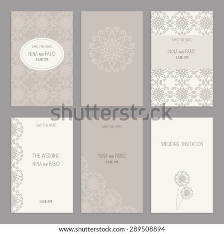 Vector Set of of vintage cards  templates. Wedding invitation card, thank you card, save the date cards.  RSVP card. Original design of wedding cards. - stock vector