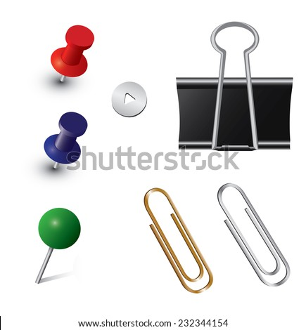 Vector set of office pins - stock vector