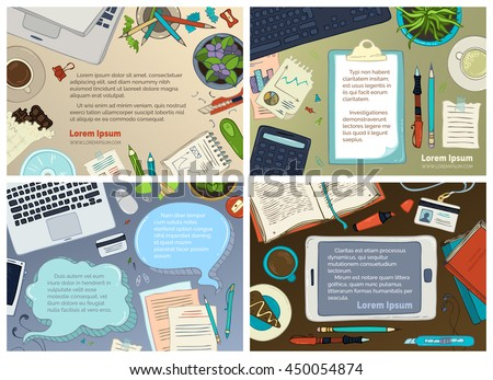 Vector set of office workplace backgrounds. Gadgets, documents and office stationery supplies, laptop. Top view. Doodles design elements for work and education. There is copyspace for your text. - stock vector