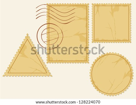 vector set of old blank postage stamps - stock vector