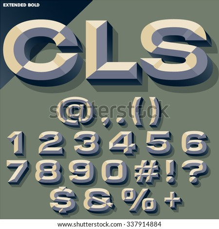 Vector set of old school bold beveled numbers and symbols. Simple colored version - stock vector