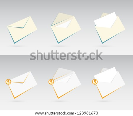 Vector set of orange and blue envelopes with letters - stock vector