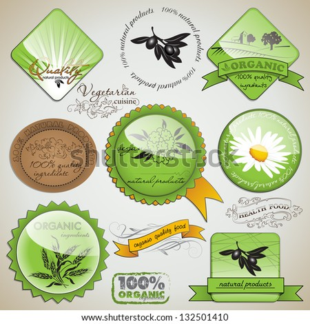 vector set of organic food labels and elements - stock vector