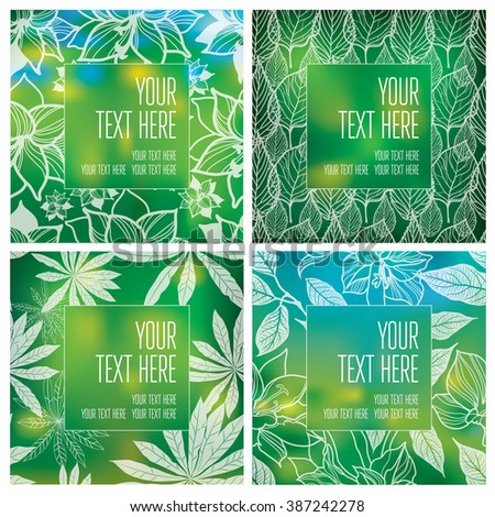 Vector set of organic natural frames backgrounds - design elements