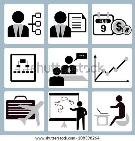 vector set of organization, human resource, project management icon set - stock vector