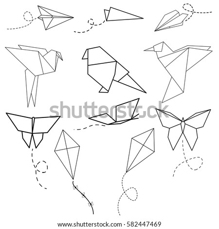 Vector Set Of Origami Birds Planes Butterflies And Kites