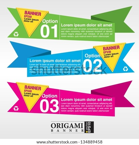 Vector set of origami paper banners vector. EPS 10 - stock vector