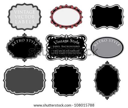 vector set of original hand drawn vintage labels - stock vector