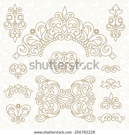 Vector set of ornament in Victorian style. Ornate elements for design and place for text. Ornamental lace pattern for wedding invitations and greeting cards. Traditional decor. - stock vector