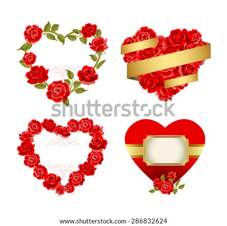 Vector set of ornamental frames with red roses. - stock vector