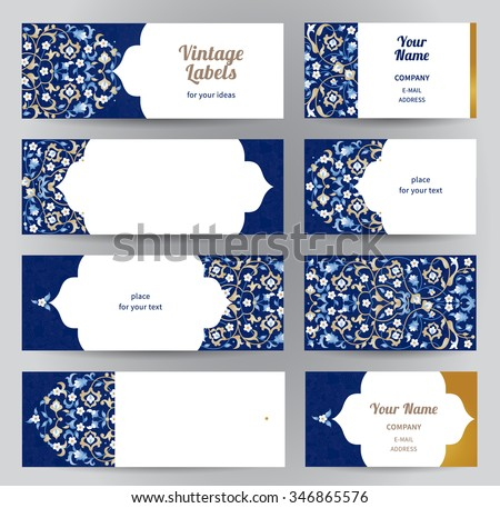 Vector set ornate horizontal cards oriental stock vector hd royalty vector set of ornate horizontal cards in oriental style bright eastern floral decor template reheart Image collections