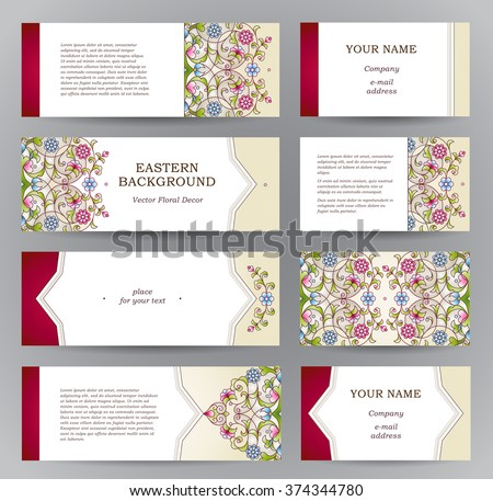 Vector set of ornate horizontal cards in oriental style. Bright Eastern floral decor. Template vintage frame for greeting card, business card. Labels and tags with place for text. - stock vector