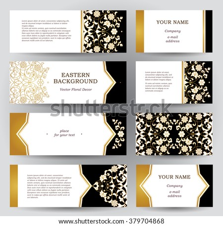 Vector set of ornate horizontal cards in oriental style. Golden floral decor. Template vintage Eastern frame for greeting card, business card. Labels and tags with place for text. - stock vector